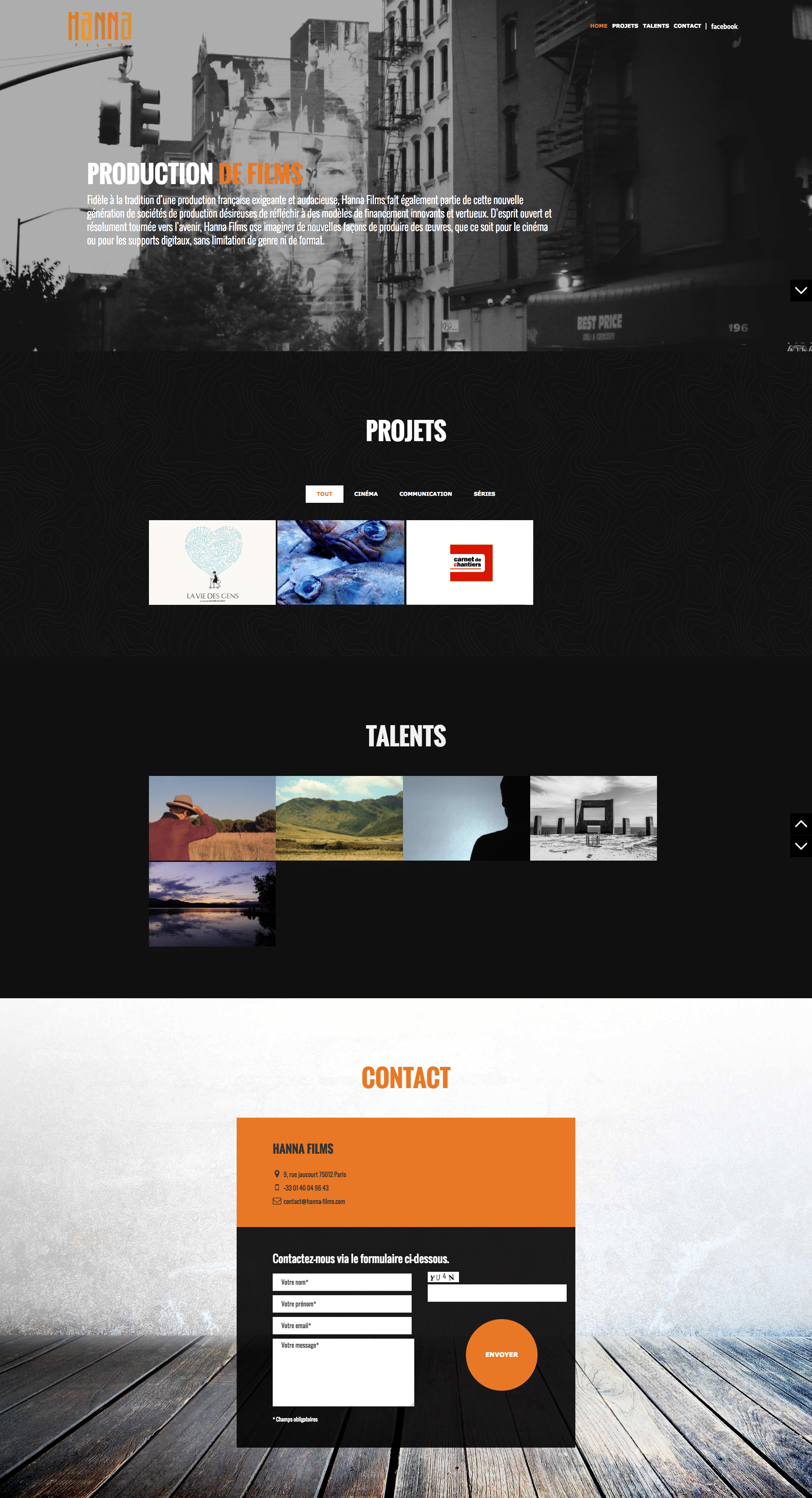 Site WordPress - Freelance Freelance - Hanna films